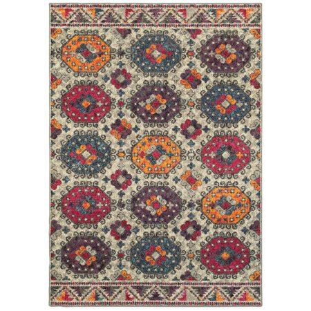 Moretti Jewel Area Rugs - 405J5 Contemporary Grey Repeat Ovals Rings Beaded Rug
