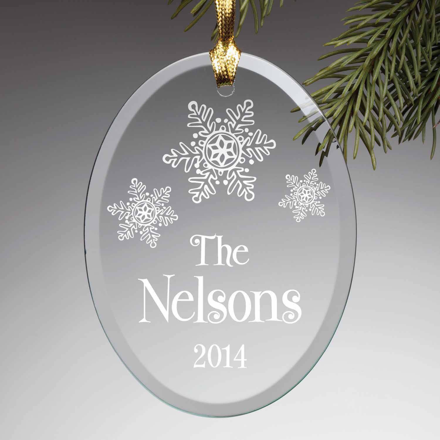 Personalized Our Family Glass Ornament