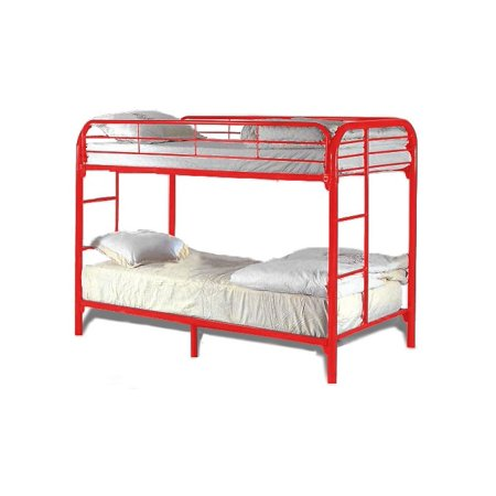 metal based sturdy twin over twin bunk bed red. Black Bedroom Furniture Sets. Home Design Ideas