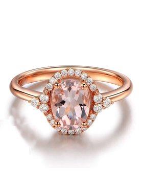 1.25 carat Morganite (Oval cut Morganite) and Diamond Halo Engagement Ring in 10k Rose Gold for Women