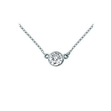 Platinum Bezel Set Round Diamond Solitaire Pendant 0.15 CT. TW.
