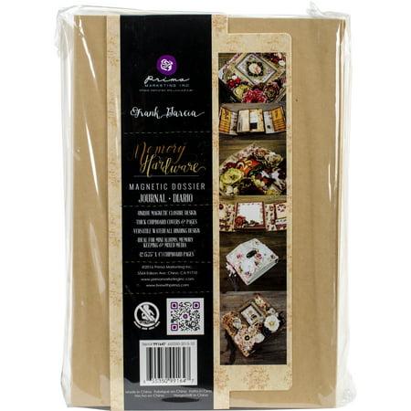 "Prima Frank Garcia Memory Hardware Chipboard Album-Kraft Magnetic Dossier W/12 Pages, 6""X9"""