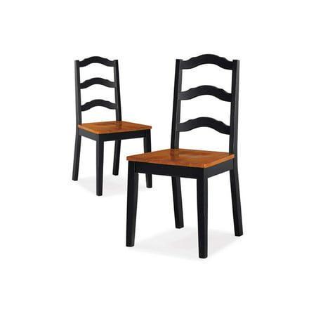 Better Homes and Gardens Autumn Lane Ladder Back Dining Chairs, Set of 2, Black and Oak ()