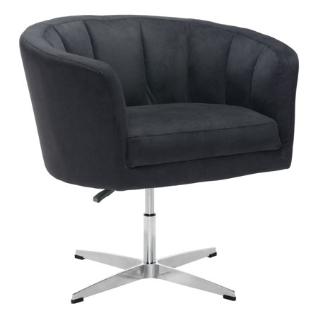 Modern Contemporary Urban Living Lounge Room Occasional Chair, Black - Cashmere Fabric Aluminium