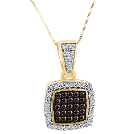 0.15 Carat (Cttw) Round Shape White Natural Diamond Square Pendant Necklace 10k Solid Yellow Gold (Yellow Gold Diamond Square Pendant)