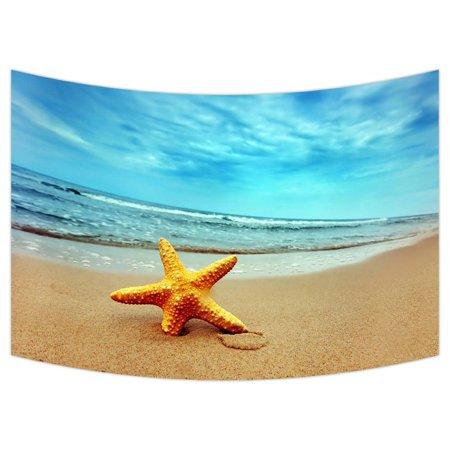 ZKGK Beach Theme Tapestry Wall Hanging Wall Decor Art for Living Room Bedroom Dorm Cotton Linen Decoration 90x60 Inches - Beach Themed Classroom