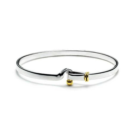 Gold Plated Sterling Silver Hook and Eye Bangle Bracelet 7in