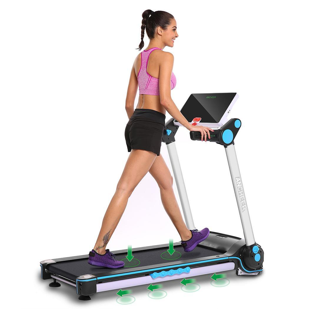 ANCHEER 2.05hp Electric Folding Treadmill with Touch Screen App Control Commercial Fitness Training Equipment... by