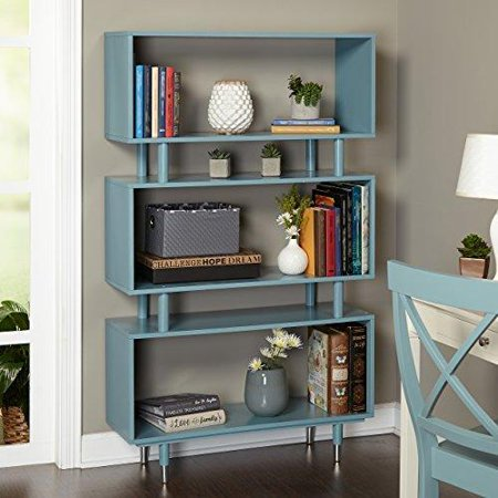 ModHaus Living Mid Century Modern Bookshelf with 3 Shelves and Solid Wood Legs - Includes Pen (Blue Shelf)
