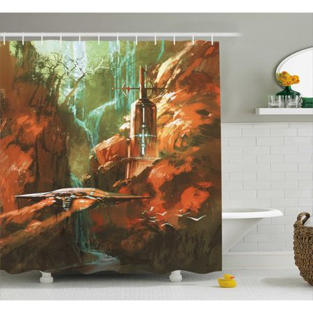 Ambesonne Fantasy World Spaceship On Background Of Waterfall Lighthouse And Red Canyon Print Shower Curtain