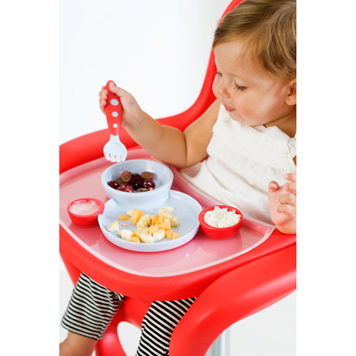 Boon - Groovy Toddler Plate Bowl & Utensils Set, BPA-Free, Berry and Cream