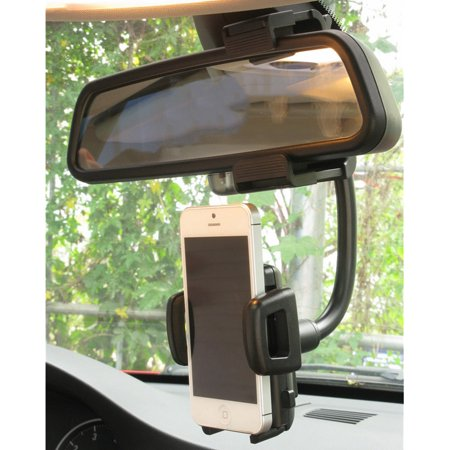 Universal 360° Car Mount Holder Cellphone Stand Rear-view Mirror Clip for iPhone XS MAX XR X 8 7 6S 6 / Plus 5S, for Samsung Galaxy Note 8 S10/S9/S8 Plus/S7 Edge/S7, Cell Phone GPS Cellular Antenna Mirror Mount