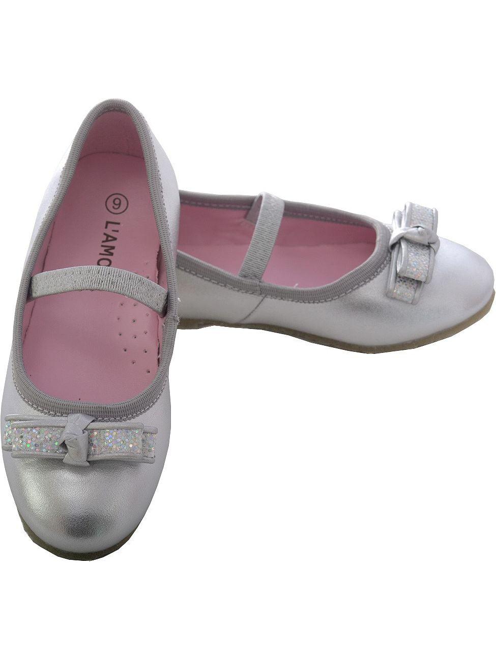 Silver Sparkle Bow Ballet Flat Shoe Toddler Girl 5-10