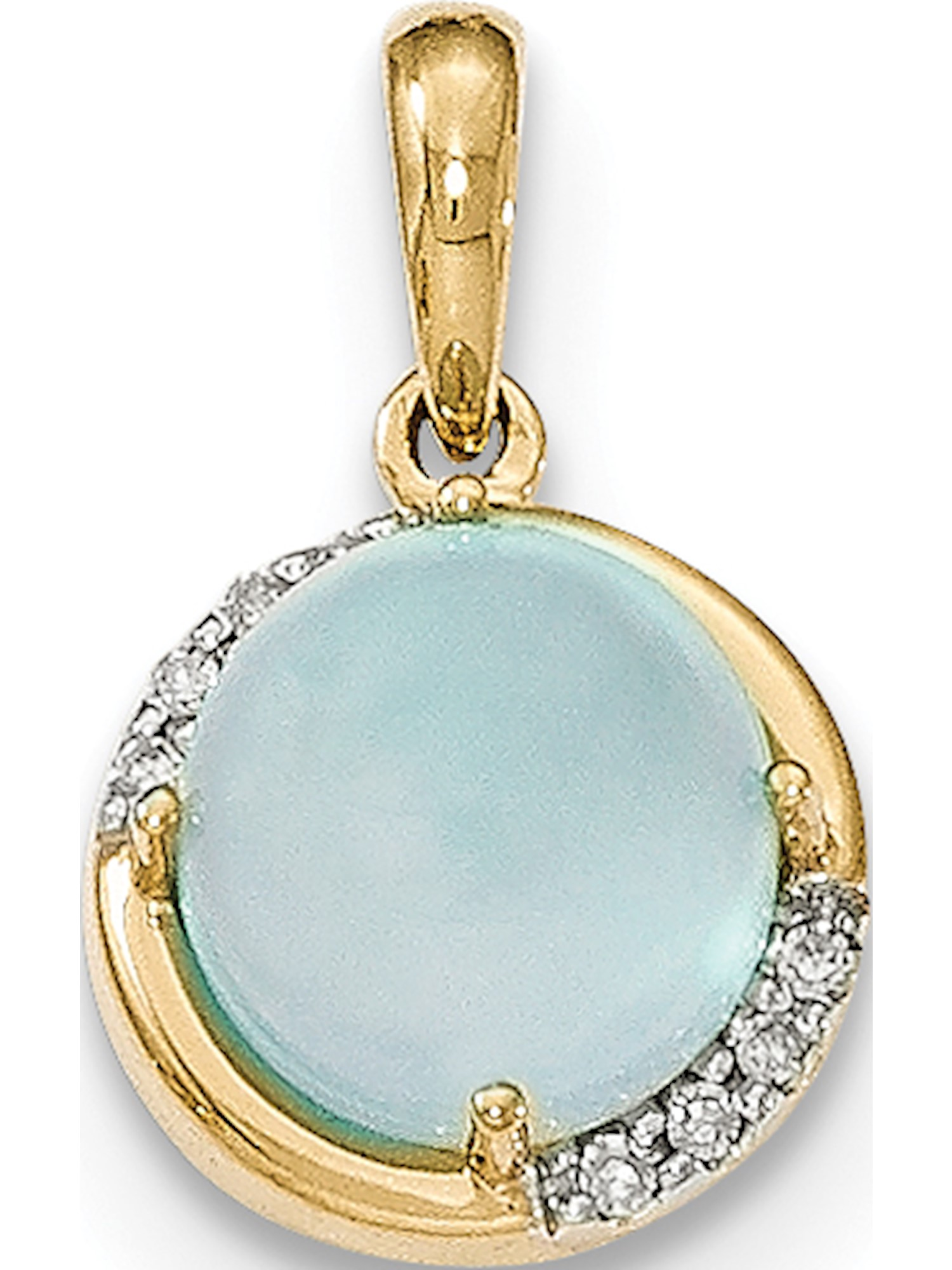 14k Yellow Gold Blue Chalcedony and Diamond Pendant   Charm by