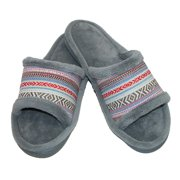 totes ISOTONER  Womens Microterry Mallory Striped Slide Slippers