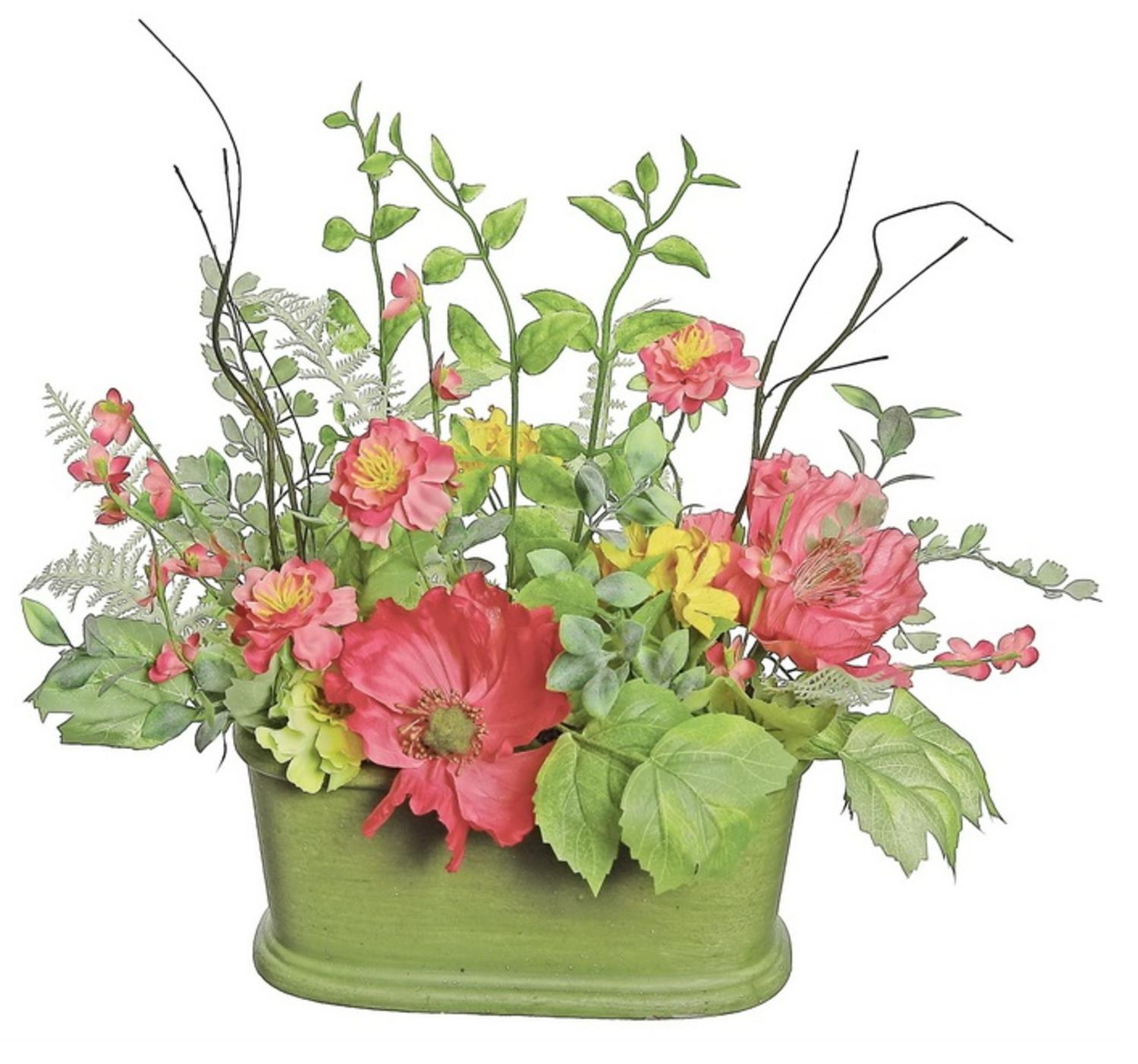 "15"" Red Poppy and Orange Wildflower Artificial Floral Table Top Decoration with Oval Pot"