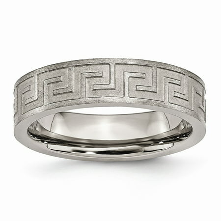 Chisel Titanium Greek Key 6 MM Satin Polished Wedding Band, Size 6.5 (Satin Greek Key)