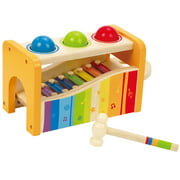Hape Kids Wooden Musical Instrument Rainbow Pound and Tap Bench with Xylophone
