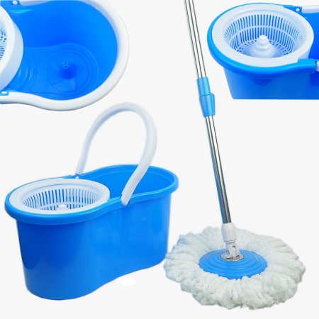 Zimtown Magic Mop Easy Floor Mop Easy Press Mop Bucket Set - 360° Rotation Push & Pull - Liquid Drain Hole - Easy Wring with Reusable Mop Heads Blue