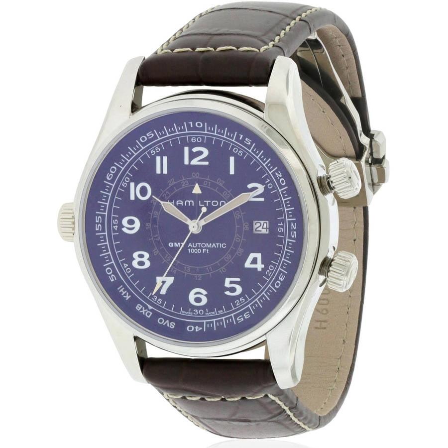 Hamilton Khaki Navi UTC Automatic Leather Men's Watch, H77505535 by Hamilton