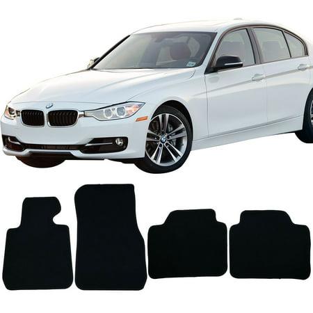 Fits 12-18 BMW F30 3 Series 4DR Sedan Floor Mats Front & Rear Black 4PC -Nylon