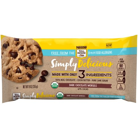 NESTLE TOLL HOUSE SIMPLY DELICIOUS Allergen-Free Dark Chocolate Morsels – Dark Chocolate Chips Made With Only Three Ingredients and Free From 8 Major Allergens, 9 oz. (Nestle Chocolate Sugar)
