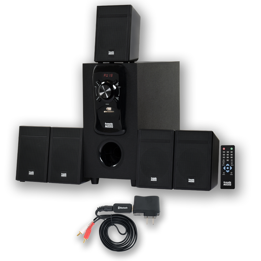 Acoustic Audio AA5150 Home Theater 5.1 Speaker System with FM Tuner and Bluetooth Multimedia