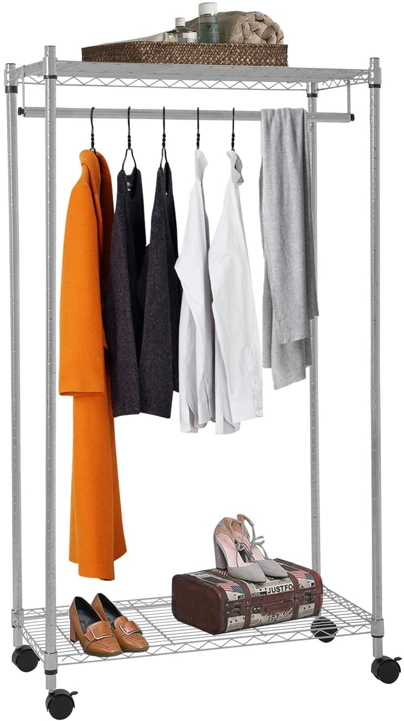 Clothes Rack On Wheels Garment Rack With Shelves Hanging