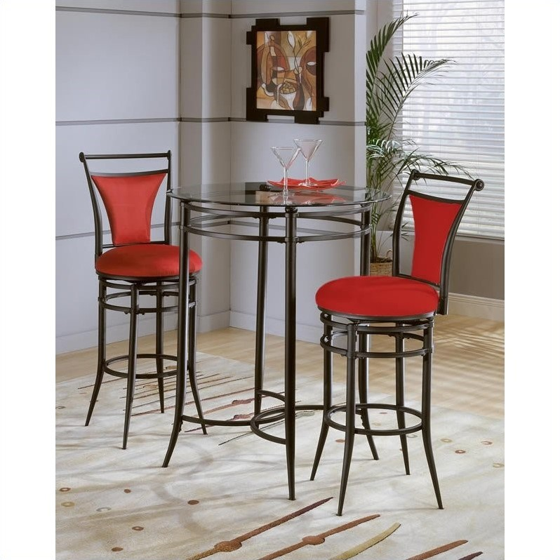 Hillsdale Mix-N-Match 3 Piece Pub Table Set w/ Cierra Stools in Flame