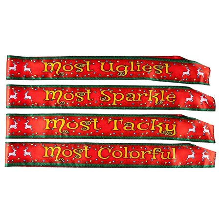 Funny Christmas Sashes - 4-Pack Polyester Sash with Most Ugliest, Sparkle, Tacky, Colorful Awards, Perfect Novelty Gift Prizes, Home or Office Christmas Party Supplies ()