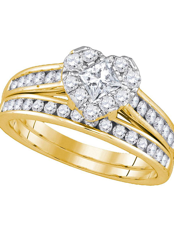 14kt Yellow Gold Princess Diamond Heart Bridal Wedding Engagement Ring Band Set 1-1 4 Cttw by GND