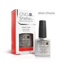 CND Shellac UV Gel Polish - Silver Chrome 0.25oz / 7.3ml Silver Staining Gel