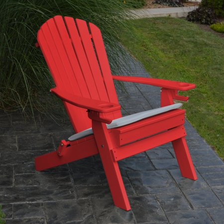 A & L Furniture Folding Recycled Plastic Adirondack Chair with 2 Cup Holders ()