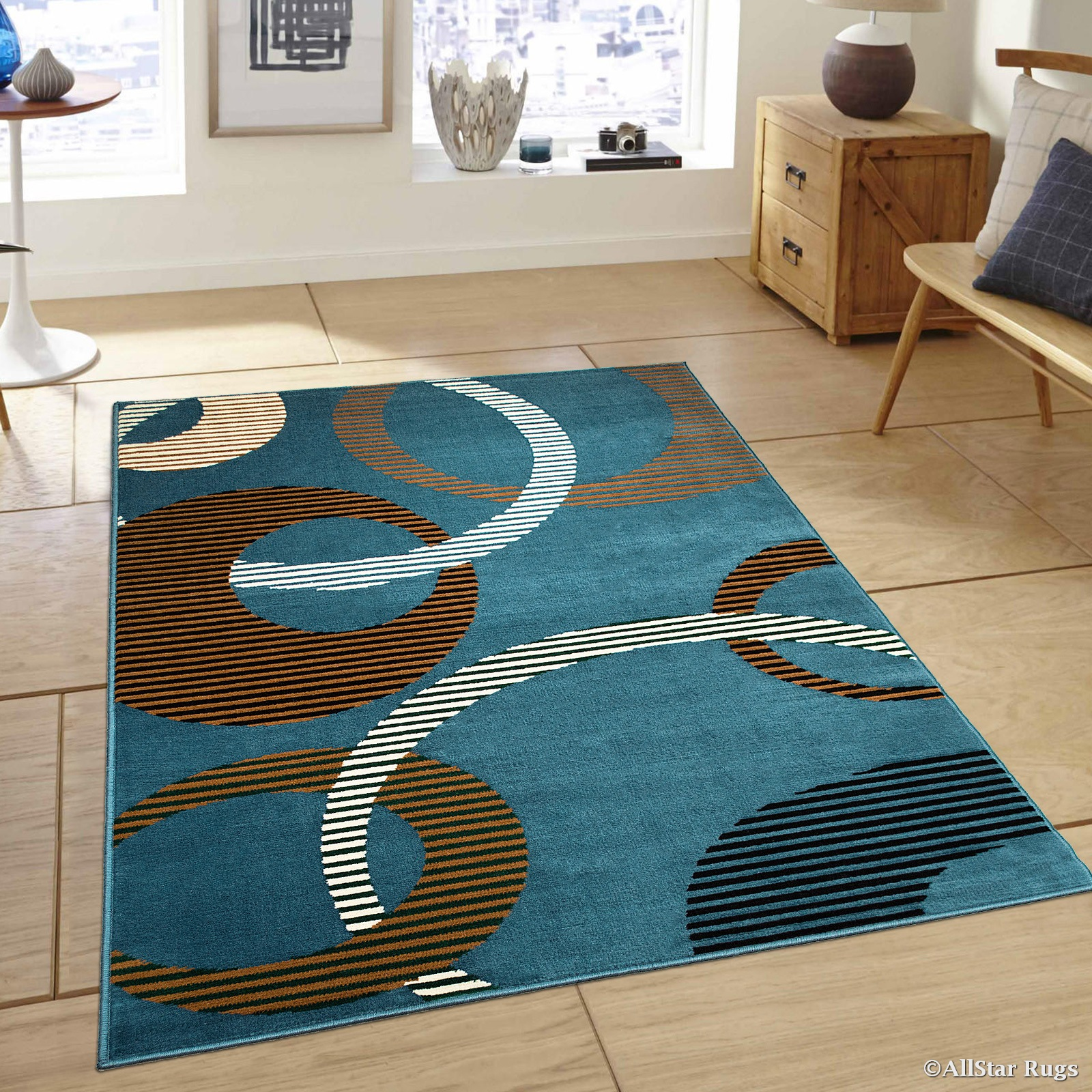 Allstar Light Blue Area Rug Contemporary Abstract