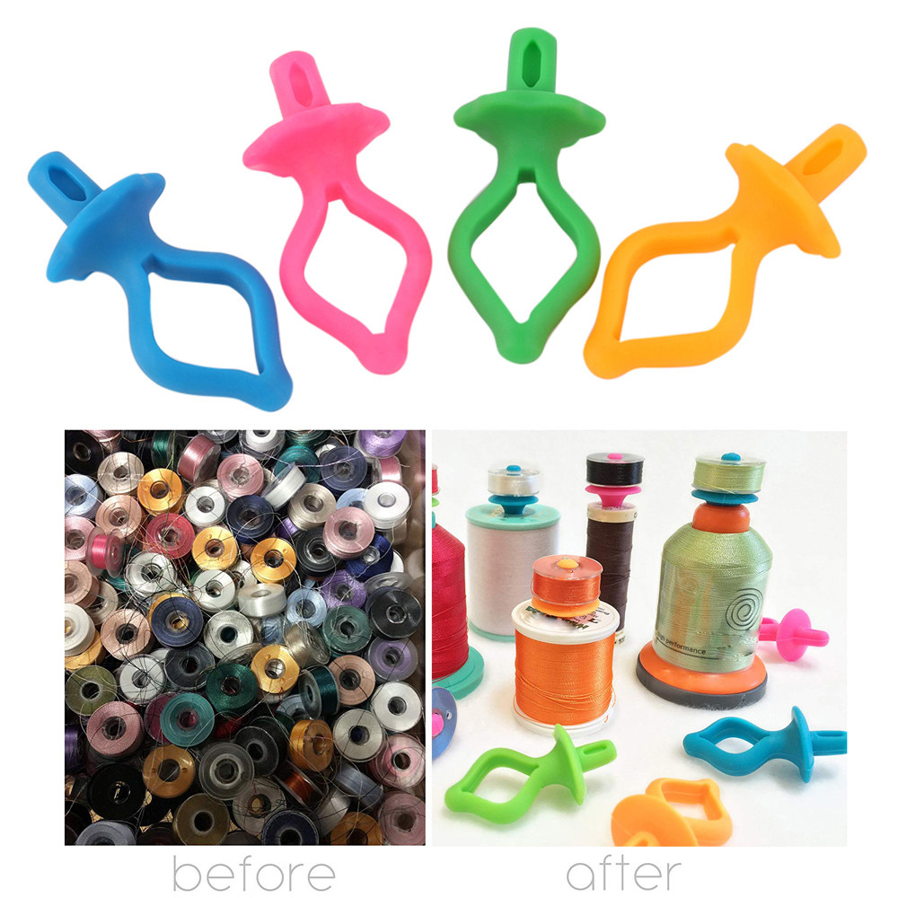 Mosunx 48PC Color Silicone Thread Clips Bobbin Holders Clips Clamps Tool
