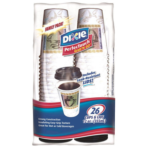 Dixie To-Go Hot w/lids Cups 12 oz 26ct