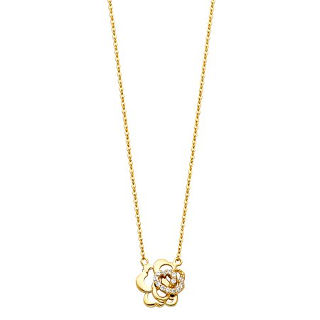 Jewels By Lux 14K Yellow Gold Cubic Zirconia CZ Rose Floating Charm Chain Necklace 17 Inches ()