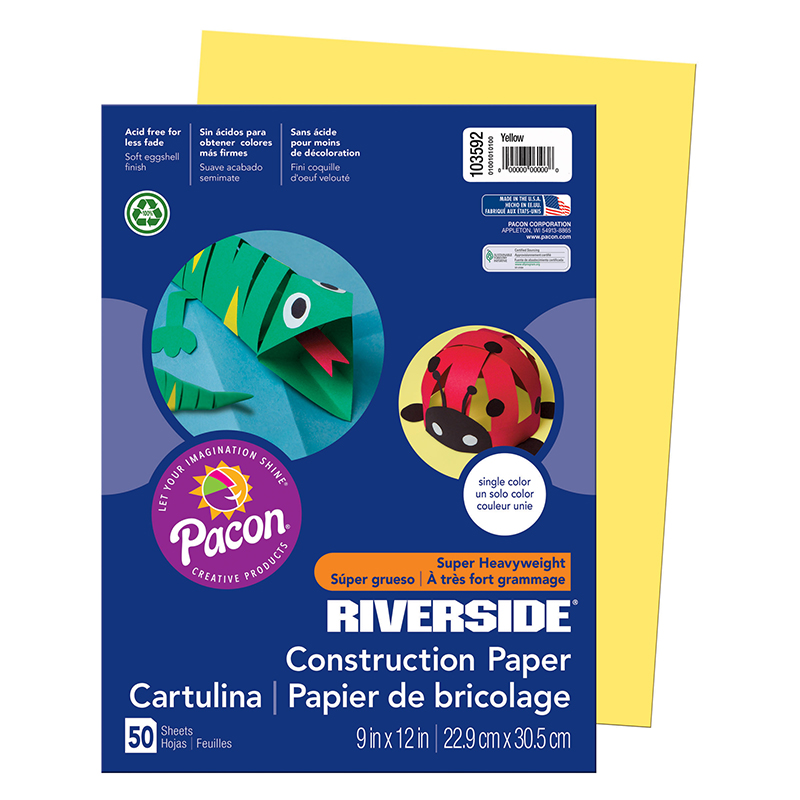 Pacon Corporation Riverside Construction Paper, 76 Lbs., 9 X 12, 50 Sheets/Pack (Set of 4)
