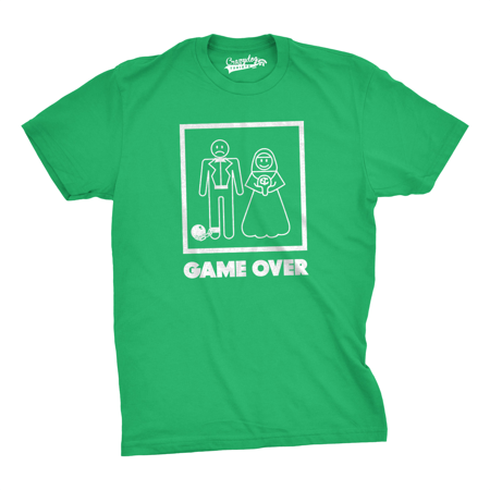 Mens Game Over T shirt Funny Wedding T shirts Humor Bachelor Party Novelty Tees - Bachelor Party Shirts