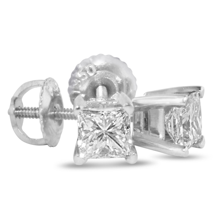 SuperJeweler 1 3/4ct G/H SI Quality Princess Diamond Stud...