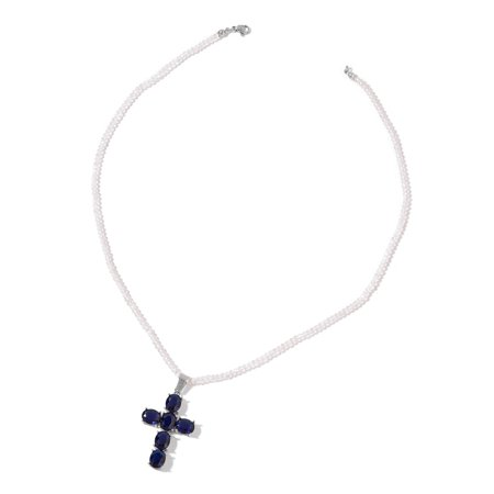 White and Sapphire Blue Color Glass Steel Cross Pendant with Necklace 20