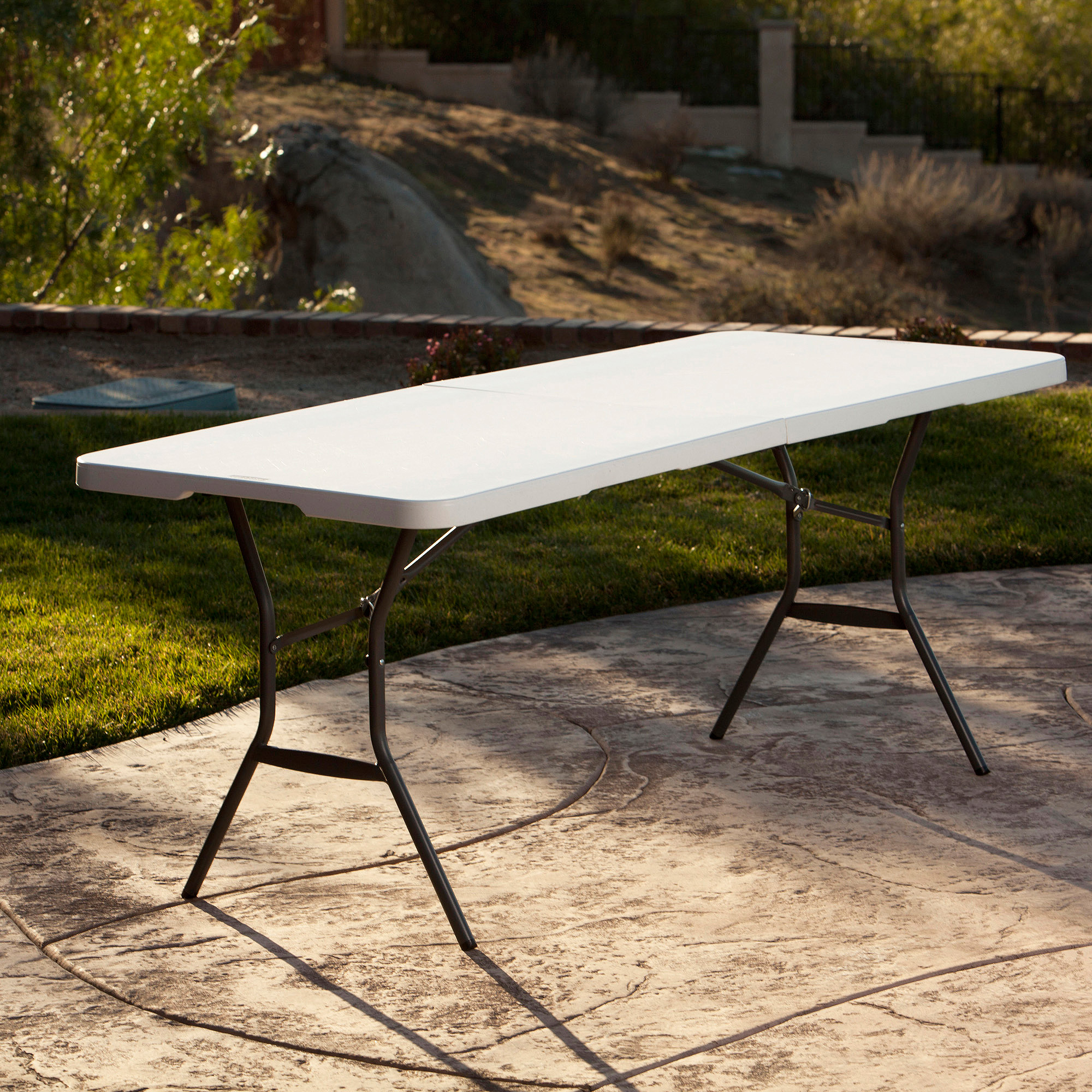 Lifetime 6u0027 Fold In Half Table, White Granite   Walmart.com