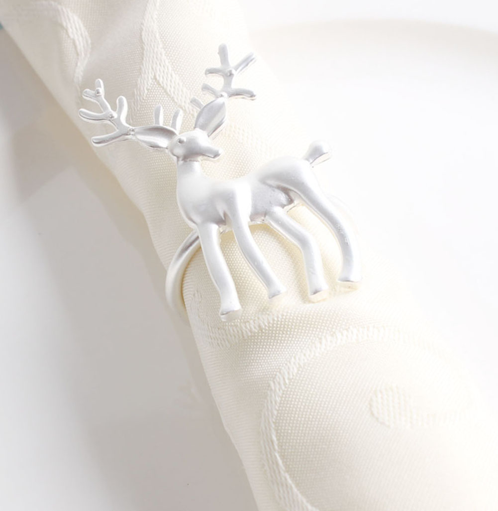 Deer Napkin Rings Set of 6 Gold Napkin Rings for Dinner Party Holiday Wedding Thanksgiving Christmas New Year