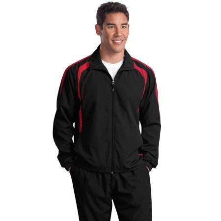 Sport-Tek® Tall Colorblock Raglan Jacket. Tjst60 Black/ True Red Lt - image 1 de 1