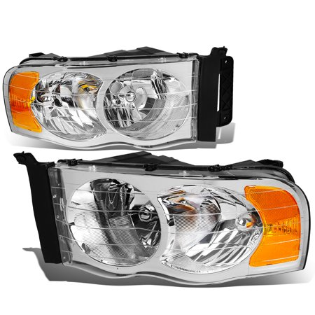 For 02-05 Dodge Ram Chome Housing Amber Corner Headlight Head Lamp Light - 3rd Gen DR/DH/D1/DC/DM 03 04