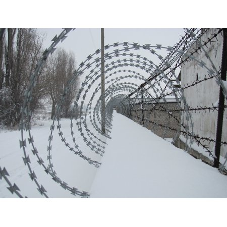 Framed Art for Your Wall Wire Security Fence War Barbed Winter Prison 10x13 Frame
