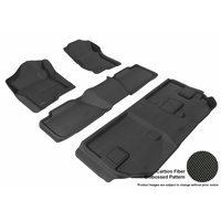 3D MAXpider 2007-2014 Chevrolet Suburban Front, Second, & Third Row Set All Weather Floor Liners in Black with Carbon Fiber Look