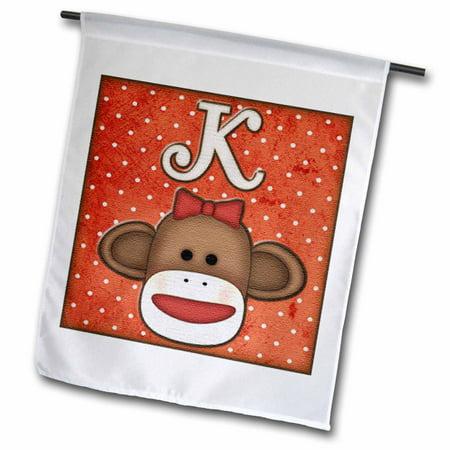 3dRose Cute Sock Monkey Girl Initial Letter K, Garden Flag, 12 by 18-Inch