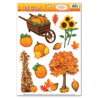 """Club Pack of 144 Colorful Fall Thanksgiving Window Cling Decorations 17"""""""