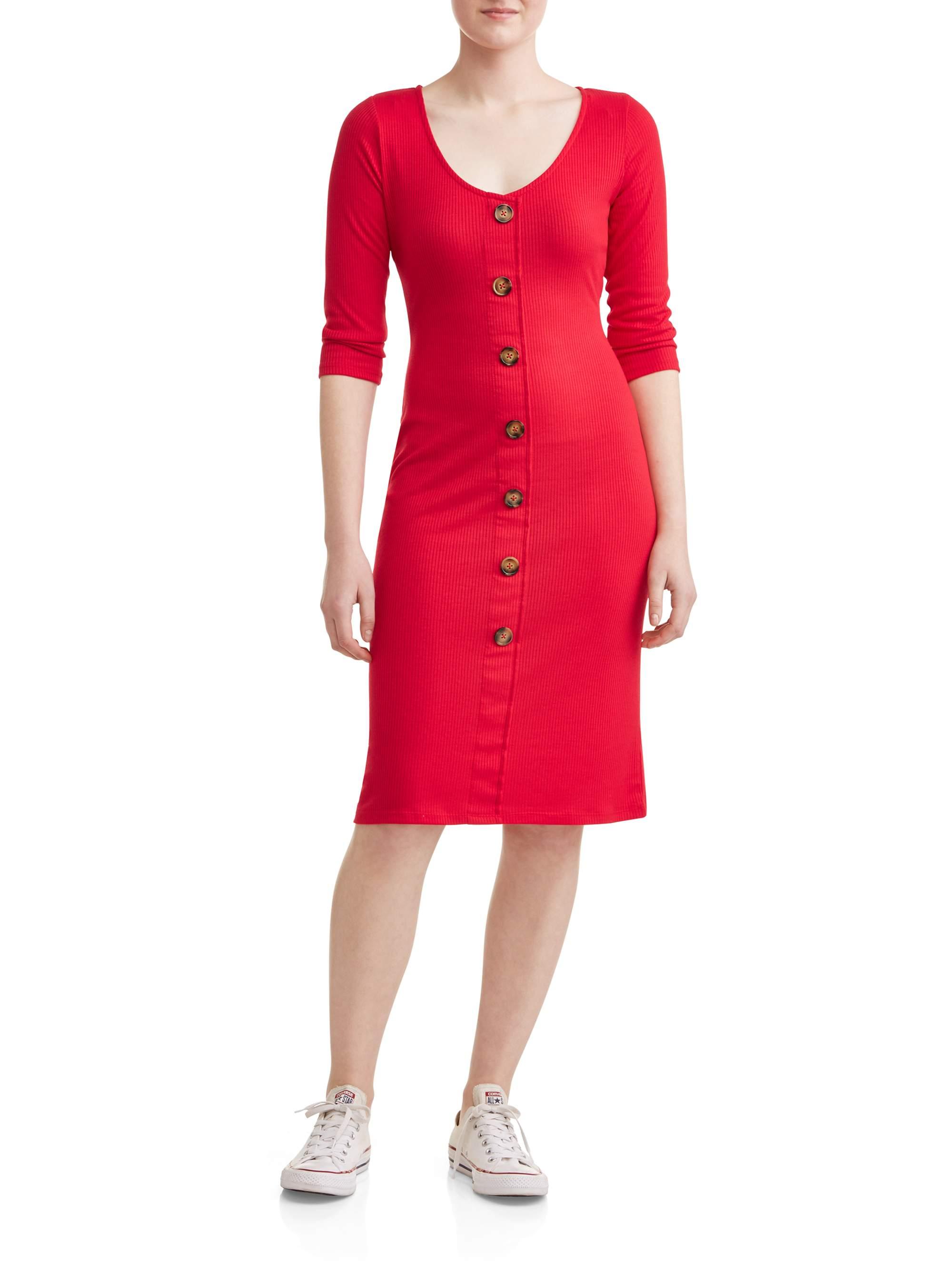Juniors' Henley Button Down Midi Dress